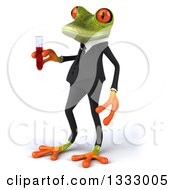 Clipart Of A 3d Green Business Frog Facing Left And Holding A Test Tube Royalty Free Illustration