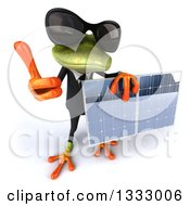 Clipart Of A 3d Green Business Frog Wearing Sunglasses Holding Up A Thumb And Solar Panel Royalty Free Illustration by Julos