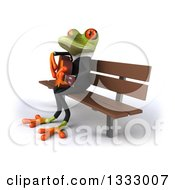 Clipart Of A 3d Green Business Frog Singing And Playing A Guitar On A Bench 2 Royalty Free Illustration