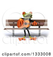 Clipart Of A 3d Green Business Frog Singing And Playing A Guitar On A Bench Royalty Free Illustration