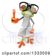 Clipart Of A 3d Bespectacled Green Springer Frog Sailor Holding Up A Thumb And An Open Book Royalty Free Illustration
