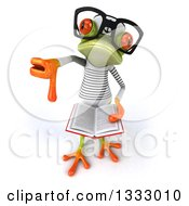 Clipart Of A 3d Bespectacled Green Springer Frog Sailor Holding Up A Thumb Down And An Open Book Royalty Free Illustration