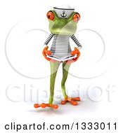 Clipart Of A 3d Green Springer Frog Sailor Walking And Reading A Book Royalty Free Illustration