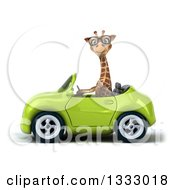 Clipart Of A 3d Bespectacled Giraffe Driving A Green Convertible Car Royalty Free Illustration