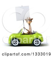 Clipart Of A 3d Bespectacled Giraffe Driving A Green Convertible Car And Holding A Blank Sign Royalty Free Illustration