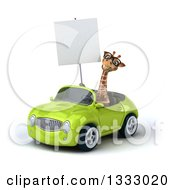 Clipart Of A 3d Bespectacled Giraffe Driving A Green Convertible Car And Holding A Blank Sign 2 Royalty Free Illustration