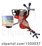 Clipart Of A 3d Bespectacled Red Springer Frog Leaping To The Left And Holding A Stack Of Books Royalty Free Illustration by Julos