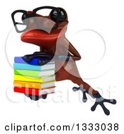 Clipart Of A 3d Bespectacled Red Springer Frog Leaping To The Left And Holding A Stack Of Books 2 Royalty Free Illustration by Julos