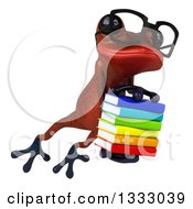 Clipart Of A 3d Bespectacled Red Springer Frog Leaping To The Right And Holding A Stack Of Books Royalty Free Illustration by Julos
