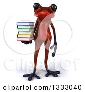 Clipart Of A 3d Red Springer Frog Holding A Stack Of Books Royalty Free Illustration by Julos