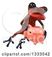 Clipart Of A 3d Red Springer Frog Jumping Slightly To The Right And Holding A Piggy Bank Royalty Free Illustration by Julos