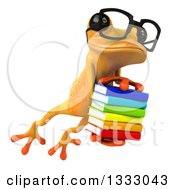 Clipart Of A 3d Bespectacled Yellow Springer Frog Leaping Slightly To The Right And Holding A Stack Of Books Royalty Free Illustration