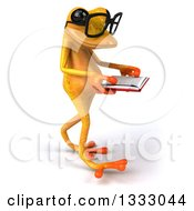 Clipart Of A 3d Bespectacled Yellow Springer Frog Walking To The Right And Reading A Book Royalty Free Illustration