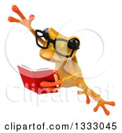 Clipart Of A 3d Bespectacled Yellow Springer Frog Leaping To The Left And Reading A Book Royalty Free Illustration