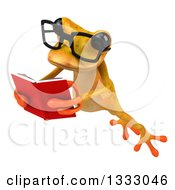 Clipart Of A 3d Bespectacled Yellow Springer Frog Leaping To The Left And Reading A Book 2 Royalty Free Illustration