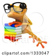Clipart Of A 3d Bespectacled Yellow Springer Frog Leaping Slightly To The Left And Holding A Stack Of Books Royalty Free Illustration