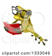 Clipart Of A 3d Bespectacled Light Green Springer Frog Leaping To The Left And Reading A Book Royalty Free Illustration by Julos