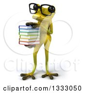 Clipart Of A 3d Bespectacled Light Green Springer Frog Holding A Stack Of Books Facing Slightly Left Royalty Free Illustration by Julos