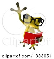 Clipart Of A 3d Bespectacled Light Green Springer Frog Leaping And Reading A Book Royalty Free Illustration by Julos