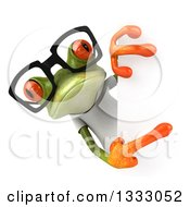 Clipart Of A 3d Bespectacled Casual Green Springer Frog Wearing A White T Shirt And Pointing Around A Sign Royalty Free Illustration