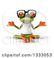 Clipart Of A 3d Bespectacled Casual Green Springer Frog Wearing A White T Shirt And Meditating Royalty Free Illustration