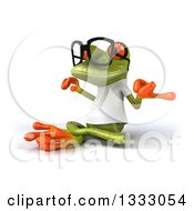 Clipart Of A 3d Bespectacled Casual Green Springer Frog Wearing A White T Shirt Facing Left And Meditating Royalty Free Illustration