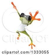 Clipart Of A 3d Casual Green Springer Frog Wearing Sunglasses And A White T Shirt And Dancing Royalty Free Illustration
