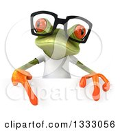 Clipart Of A 3d Bespectacled Casual Green Springer Frog Wearing A White T Shirt And Pointing Down Over A Sign Royalty Free Illustration