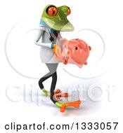 Clipart Of A 3d Green Doctor Springer Frog Walking To The Right And Holding A Piggy Bank Royalty Free Illustration