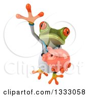 Clipart Of A 3d Green Doctor Springer Frog Leaping Forward And Holding A Piggy Bank Royalty Free Illustration