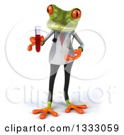Clipart Of A 3d Green Doctor Or Scientist Springer Frog Holding And Presenting A Test Tube With Blood Royalty Free Illustration