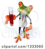 Clipart Of A 3d Green Doctor Or Scientist Springer Frog Holding Up And Presenting A Test Tube With Blood Royalty Free Illustration