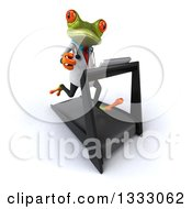 Clipart Of A 3d Green Doctor Springer Frog Facing Slightly Right And Running On A Treadmill Royalty Free Illustration