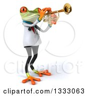 Clipart Of A 3d Green Doctor Springer Frog Facing Right And Playing A Saxophone Royalty Free Illustration