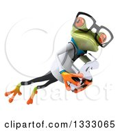 Clipart Of A 3d Bespectacled Green Doctor Springer Frog Leaping To The Right And Holding A Dollar Currency Symbol Royalty Free Illustration