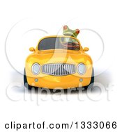 Clipart Of A 3d Green Springer Frog Driving A Yellow Convertible Car Royalty Free Illustration