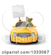 Clipart Of A 3d Green Springer Frog Driving A Yellow Convertible Car And Holding A Blank Sign Royalty Free Illustration
