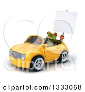 Clipart Of A 3d Green Springer Frog Driving A Yellow Convertible Car And Holding A Blank Sign 2 Royalty Free Illustration