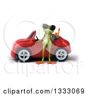 Clipart Of A 3d Green Springer Frog Wearing Sunglasses And Giving A Thumb Up By A Red Convertible Car Royalty Free Illustration