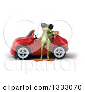 Clipart Of A 3d Green Springer Frog Wearing Sunglasses And Giving A Thumb Down By A Red Convertible Car Royalty Free Illustration