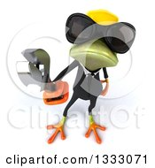 Clipart Of A 3d Green Contractor Frog Wearing Sunglasses And Holding Up A Wrench Royalty Free Illustration