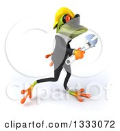 Clipart Of A 3d Green Contractor Frog Wearing Sunglasses Walking To The Right With A Wrench Royalty Free Illustration