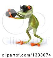 Clipart Of A 3d Green Springer Frog Wearing Sunglasses Facing Left And Taking Pictures With A Camera Royalty Free Illustration