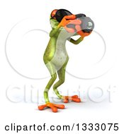 Clipart Of A 3d Green Springer Frog Wearing Sunglasses Facing Slightly Right And Taking Pictures With A Camera Royalty Free Illustration