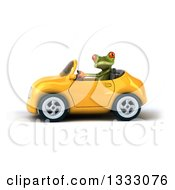 Clipart Of A 3d Green Springer Frog Driving A Yellow Convertible Car 2 Royalty Free Illustration