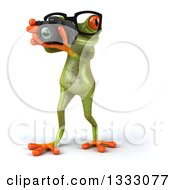 Clipart Of A 3d Bespectacled Green Springer Frog Walking And Taking Pictures With A Camera Royalty Free Illustration