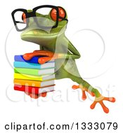 Clipart Of A 3d Bespectacled Green Springer Frog Leaping To The Left And Holding A Stack Of Books Royalty Free Illustration