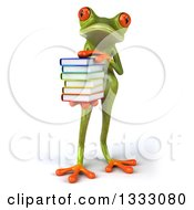 Clipart Of A 3d Green Springer Frog Holding A Stack Of Books Royalty Free Illustration