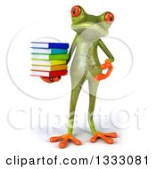Clipart Of A 3d Green Springer Frog Presenting And Holding A Stack Of Books Royalty Free Illustration