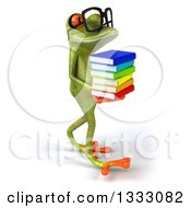 Clipart Of A 3d Bespectacled Green Springer Frog Walking To The Right And Holding A Stack Of Books Royalty Free Illustration